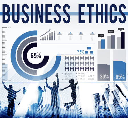 The word BUSINESS ETHICS with charts