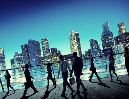 commuter: Business People Global Commuter Walking City Concept