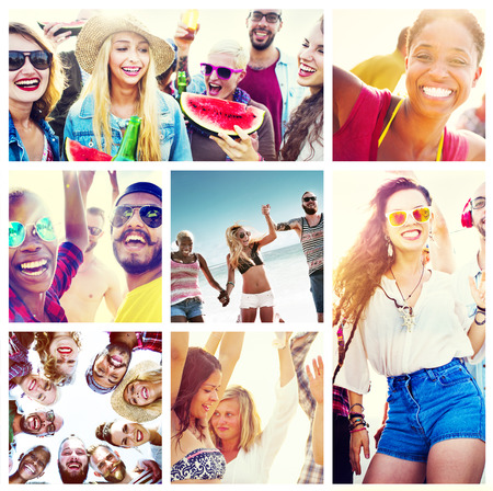 multiple ethnicities: Collage Diverse Faces Summer Beach People Concept