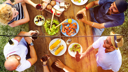 family and friends: Friends Friendship Outdoor Dining People Concept Stock Photo