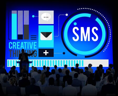 sender: Sms Digital Messaging Communication Technology Concept Stock Photo
