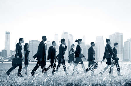 commuting: Business People Commuting Walking Outdoors Concept