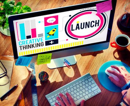 empezar: Lanzar nuevos negocios Inauguraci�n Comienza Start Concept Foto de archivo
