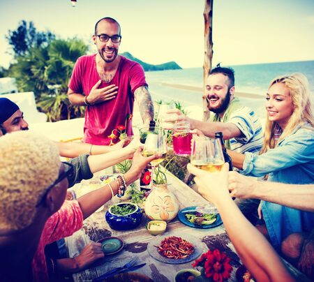 dinner party: Beach Summer Dinner Party Celebration Concept Stock Photo