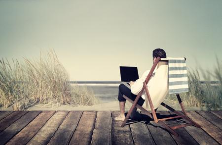 Businessman Working Summer Beach Relaxation Concept Foto de archivo