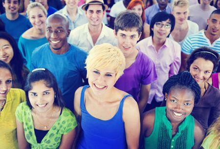 mixed age: Multi-Ethnic Crowd Teamwork Friendship Concept Stock Photo