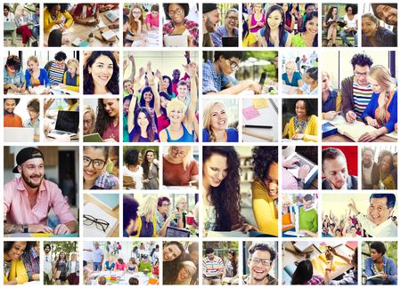 gesicht: Verschiedene Leute Studenten Start Up Collage Konzept Lizenzfreie Bilder