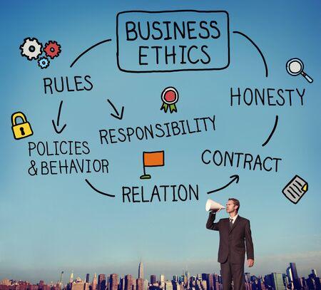 honestidad: �tnicas negocio Reglas Concepto Responsabilidad Honestidad Foto de archivo
