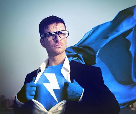 blitz symbol: Strong Superhero Businessman Lightning Bolt Concepts Lizenzfreie Bilder
