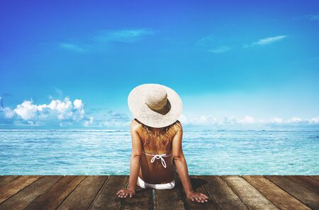 relaxing: Woman Sunbathe Sunny Summer Beach Relaxing Concept