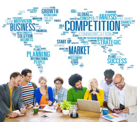 competici�n: Competencia Global Market Desaf�o Concurso Concept Foto de archivo