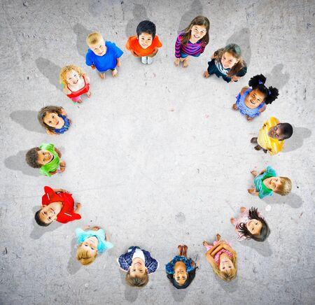 diversity: Children Kids Cheerful Childhood Diversity Concept Stock Photo