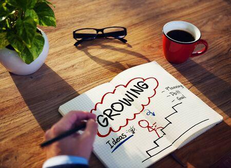 crecimiento personal: Proceso de Crecimiento Planificaci�n Mejora Concepto Desarrollo Foto de archivo