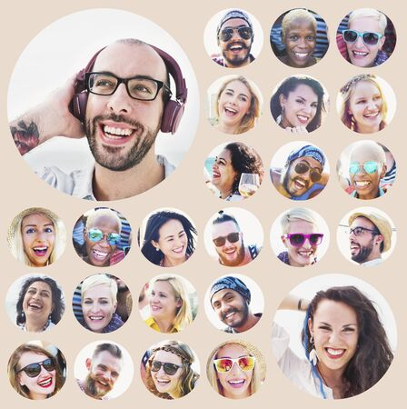 multiple ethnicities: Portrait of Diverse Multiethnic Cheerful People Concept Stock Photo
