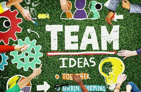trabajo en equipo: Trabajo en equipo Colaboración en equipo Conexión Unidad Unión Concept