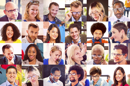 asian man face: Collage Diverse Faces Group People Concept Stock Photo