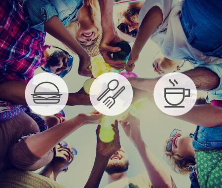 young group: Meal Lunch Breakfast Fastfood Hamburger Concept Stock Photo