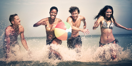 getting away from it all: Group of People Summer Beach Vacation Carefree Concept
