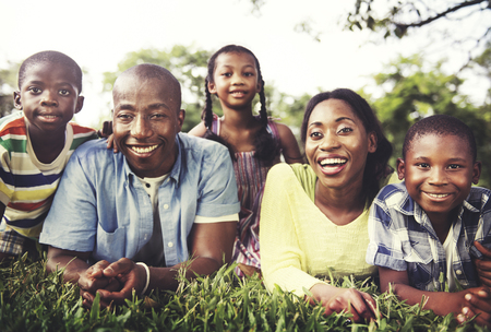 african american mother and daughter: Family Togetherness Unity Parents Son Daugther Concept