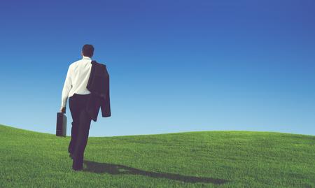 Businessman Solitude Leadership Loneliness Aspiration Concept Stock Photo