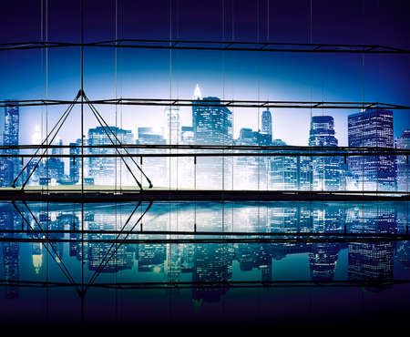 clear sky: Night Time Cityscape Clear Sky Building City Structure Concept Stock Photo