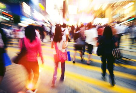 People in Hong Kong Cross Walking Concept Stock Photo
