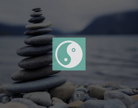 stacked stones: Yin Yang Balance Contrast Opposite Religion Culture Concept Stock Photo