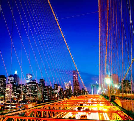 financial district: The Brooklyn Bridge Financial District Night Concept