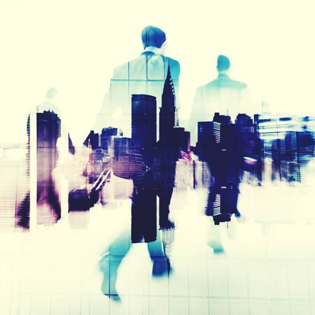 Commuter Business People Commuter Crowd Walking Concept Stock Photo
