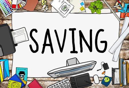 printer drawing: Saving Save Money Finance Budget Banking Concept Stock Photo