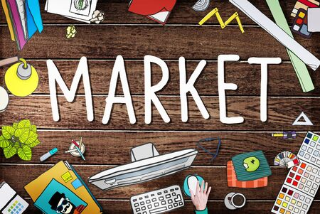consumer: Market Consumer Product Buyer Marketing Concept Stock Photo