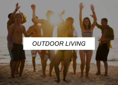 outdoor living: Outdoor Living Summer Friendship Beach Vacation Concept Stock Photo