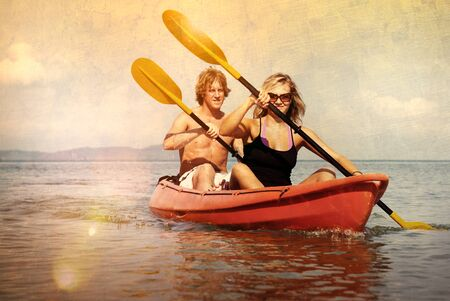 recreational: Kayaking Adventure Happiness Recreational Pursuit Couple Concept Stock Photo
