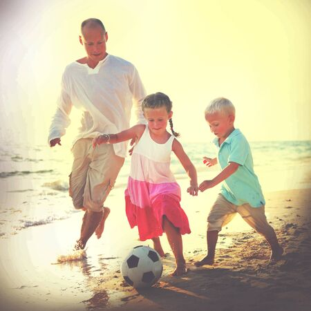 leisure activities: Father Kids Playing Football Together Summer Leisure Concept Stock Photo