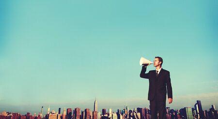 announcement: Business Man Announcement City Rooftop Concept