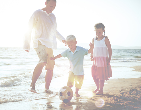 Family Playing Football Soccer Parenting Running Concept Stock Photo