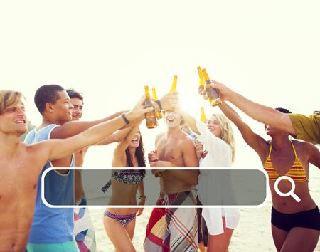 beach party: Summer Togetherness Friendship Searching Internet Concept