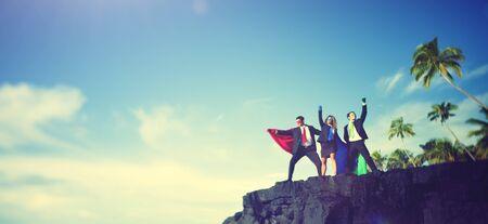 edge of cliff: Business Superheroes Edge Cliff Achievement Success Concept