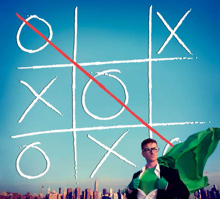 tic tac toe: Leisure Game Tic Tac Toe Competition Challenge Winner Concept Stock Photo