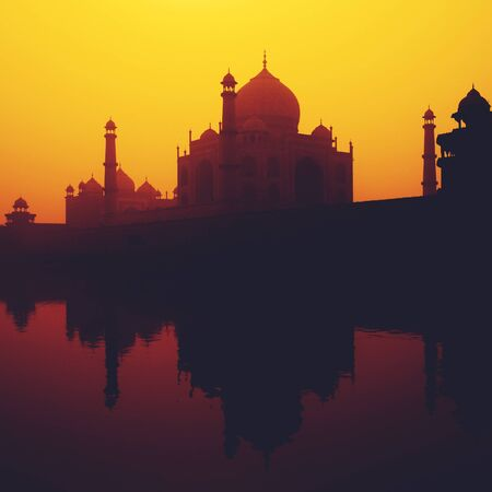 famous place: Sunset Silhouette Of A Grand Taj Mahal Famous Place Concept