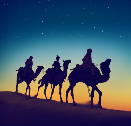 camel silhouette: Three Wise Men Riding Camel Desert Dusk Concept Stock Photo