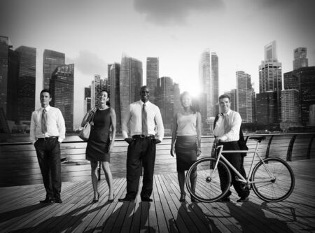 city of sunrise: Business People Green Business Corporate Cityscape Professional Concept Stock Photo