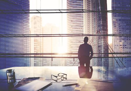 Stad Scape Businessman Leader Denken Concept