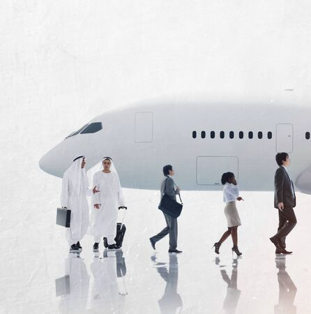 middle eastern ethnicity: Multiethnic Group of Business People Airplane Concept
