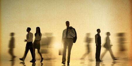 rushing hour: Business People Rush Hour Walking Commuter Concept