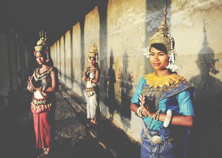 southeast asian ethnicity: Cambodian Greeting Style Acient Angkor Wat Apsara Concept