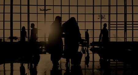 back lit: Back Lit Business People Traveling Airport Passenger Concept