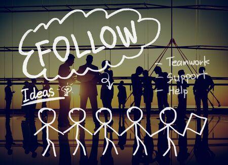 Follow Following Teamwork Member Leader Concept Stock Photo