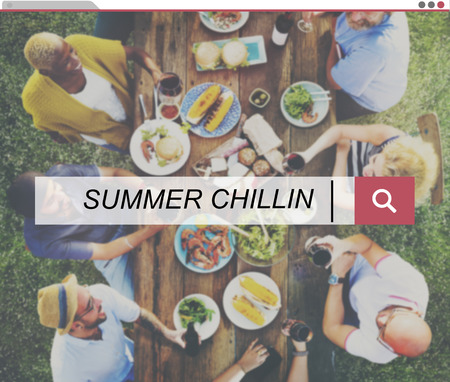Search bar with summer gathering background