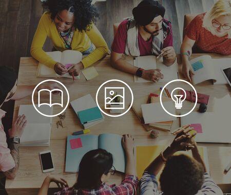 skills diversity: Creative Ideas Thinking Knowledge Design Concept Stock Photo